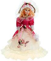 Кукла коллекц музык Барышня в бело-крас платье музык