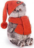 Басик в вязаной шапке и шарфе 19 см
