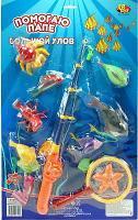 """Рыбалка """"Большой Улов"""", набор с 2-мя удочками и 9 рыбами, на картоне"""