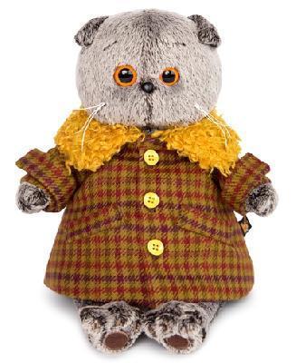 Кот Басик в пальто с желтым меховым воротником 19 см мягкая игрушка
