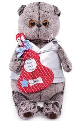 Кот Басик в жилете с гитарой 22 см мягкая игрушка