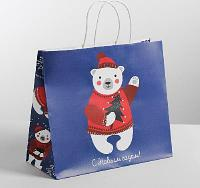 Пакет подарочный крафт «Новогодние медвежата», 32 х 28 х 15 см 4320179