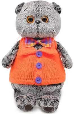 Кот Басик в вязаном жилете 19 см, мягкая игрушка