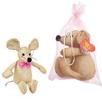 Мышка блестящая, золотая 16 см игрушка мягкая в подарочном мешочке_СИМВОЛ ГОДА 2020!