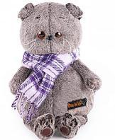 Кот Басик в фиолетовом шарфе 25 см мягкая игрушка