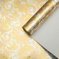 """Бумага для декорирования """"Праздничный узор"""", металлизированная, золотая, 0,7 х 1 м 3730999"""
