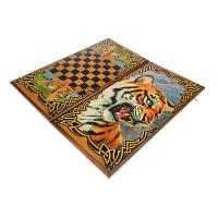 """Нарды-шашки """"Тигр """" (доска дерево 40х40 см) 1300792"""