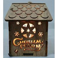 Домик новогодний деревянный со светом 706-2/706-1