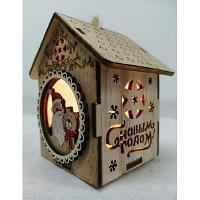 Домик новогодний деревянный со светом 706-4/706-3