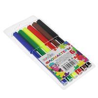 ClipStudio Фломастеры 6 цветов, с цветным вент.колпачком, большие, смываемые, пластик, в ПВХ пенале