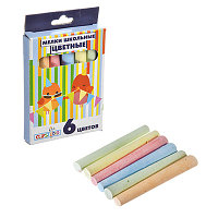 ClipStudio Мелки школьные цветные 6 цветов, в картонной коробке с подвесом