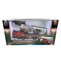 Спецтехника. Пожарная машина, 1:50 металлическая, механическая с подвижной кабиной и кузовом, в коро
