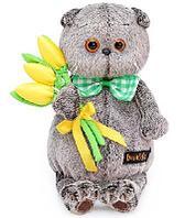 Кот Басик с желтыми тюльпанами мягкая игрушка 25 см