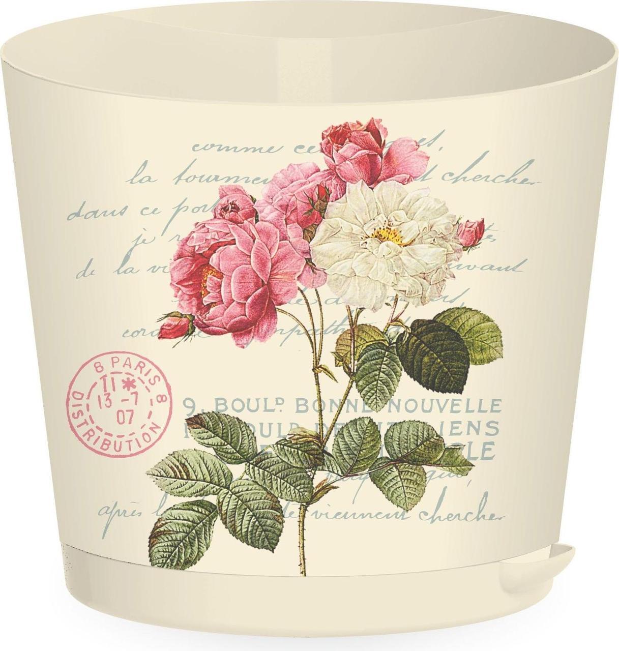 Горшок для цветов Easy Grow D 200 с прикорневым поливом 4 л Сливочный прованс