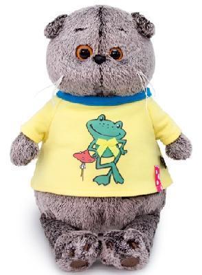 Кот Басик в футболке с принтом Лягушонок 22 см мягкая игрушка