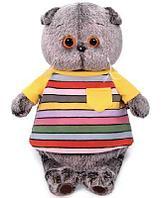 Кот Басик в полосатой футболке с карманом 22 см мягкая игрушка