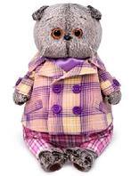 Кот Басик в пиджаке в сиреневую клетку 22 см мягкая игрушка