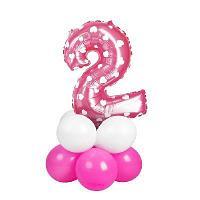 Букет из шаров «Цифра 2», фольга, латекс, набор 9 шт., цвет розовый, сердце