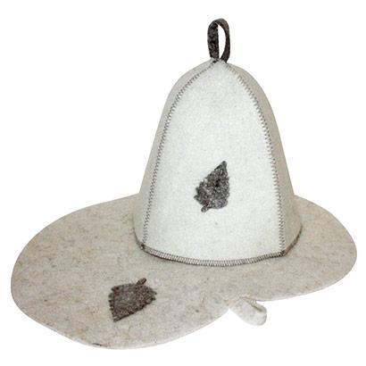 Комплект банный (шапка,коврик), войлок бел.