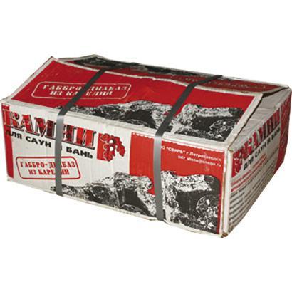 Камни для сауны, 20кг - габбродиабаз, колотый (в коробке)