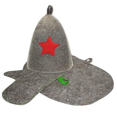 """Набор банный""""Звезда"""", в подар.коробке (шапка, рукавица, коврик)"""