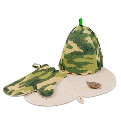 """Набор для бани""""Камуфляж""""(шапка, рукавица, коврик)"""