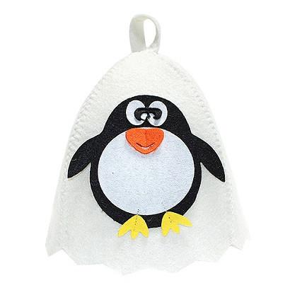 """Шапка банная с аппликацией """"Пингвин"""", войлок белый"""