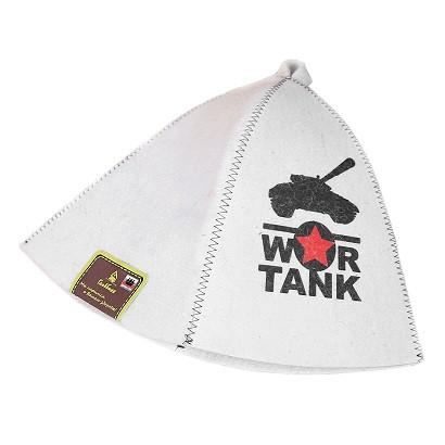 """Шапка банная с принтом """"War tank"""", войлок белый"""