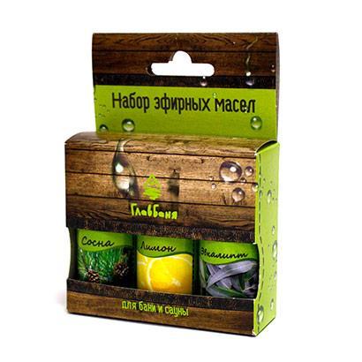 Набор масел эфирных: Лимон, Сосна, Эвкалипт, 3х17мл