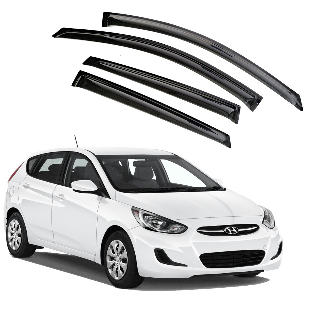 Ветровики дверей (дефлекторы окон) Hyundai Solaris/Accent х/б (2011-2017)