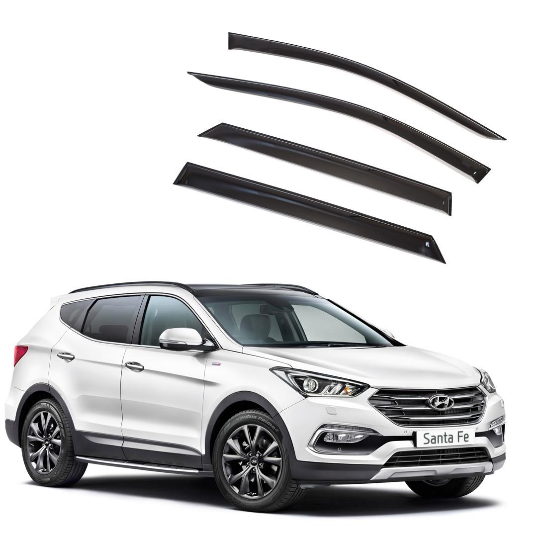 Ветровики дверей (дефлекторы окон) Hyundai Santa Fe (2012-2018)