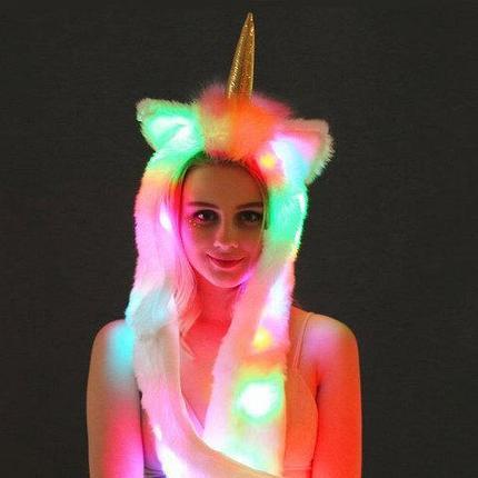Шапка-Единорог с хлоп-ушками и разноцветной подсветкой (Белый единорог), фото 2