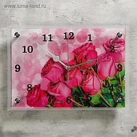 """Часы настенные, серия: Цветы, """"Розовые розы"""", 25х35 см, микс"""