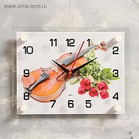 """Часы настенные, серия: Музыка, """"Розы и скрипка"""", 20х26 см, макс"""
