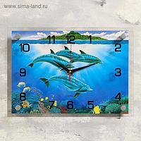 """Часы настенные, серия: Море, """"Дельфины"""", 25х35 см, микс"""