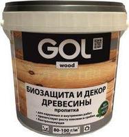 Пропитка GOL wood №232 защитно-декоративная для древесины AQUA (0,9 кг), 01 Иней