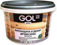 Пропитка GOL wood №232 защитно-декоративная для древесины AQUA (10 кг), Бесцветный