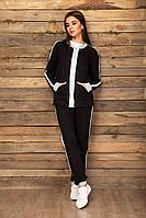 Женский осенний трикотажный черный спортивный большого размера спортивный костюм Angelina & Сompany 455 46р.