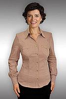 Женская осенняя хлопковая бежевая деловая нарядная блуза Таир-Гранд 6293 какао 46р.