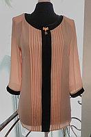 Женская летняя из вискозы деловая нарядная блуза Таир-Гранд 62208-1 пудра+черный 46р.
