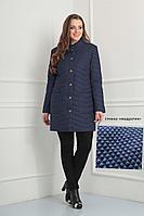 """Женское осеннее синее большого размера пальто Fortuna. Шан-Жан 602 синий/стежка_""""квадратик"""" 52р."""