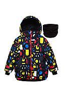 Детская для мальчиков зимняя куртка и шарф Bell Bimbo 183036 черный/набивка 134-68р.