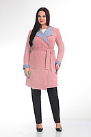 Женское осеннее шерстяное розовое пальто GALEREJA 514 розовый 48р.