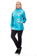 Женский летний трикотажный спортивный большого размера спортивный костюм FORMAT 11210 голубой 58р.
