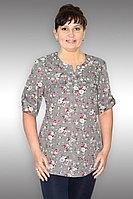 Женская осенняя хлопковая бежевая нарядная большого размера блуза Таир-Гранд 62178-1 какао 50р.