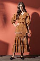 Женская осенняя коричневая блуза Nova Line 3509 коричневый 42р.
