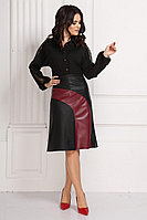 Женская летняя кожаная черная деловая большого размера юбка Solomeya Lux 575 50р.