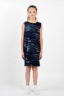 Детское для девочек летнее трикотажное серое платье GuliGuli П-35д камуфляж 134-68р.