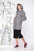 Женское осеннее драповое серое пальто Golden Valley 7069 серая_клетка 44р.