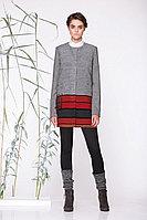 Женское осеннее драповое серое пальто Golden Valley 7065 серо-красный 44р.